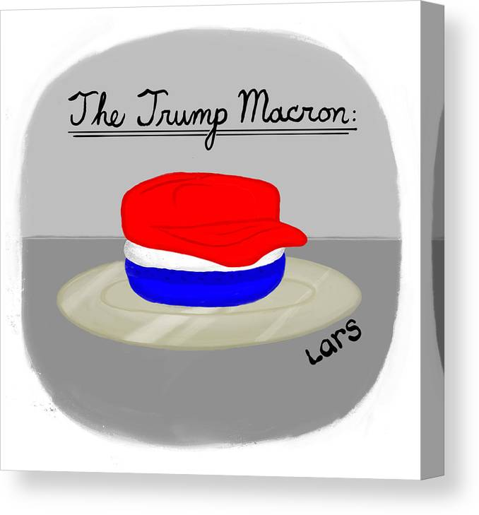 The Trump Macron Canvas Print featuring the painting The Trump Macron by Lars Kenseth