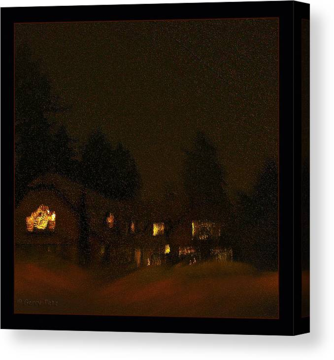 Mountain Lodge Canvas Print featuring the photograph Winter's Night by Gerry Tetz