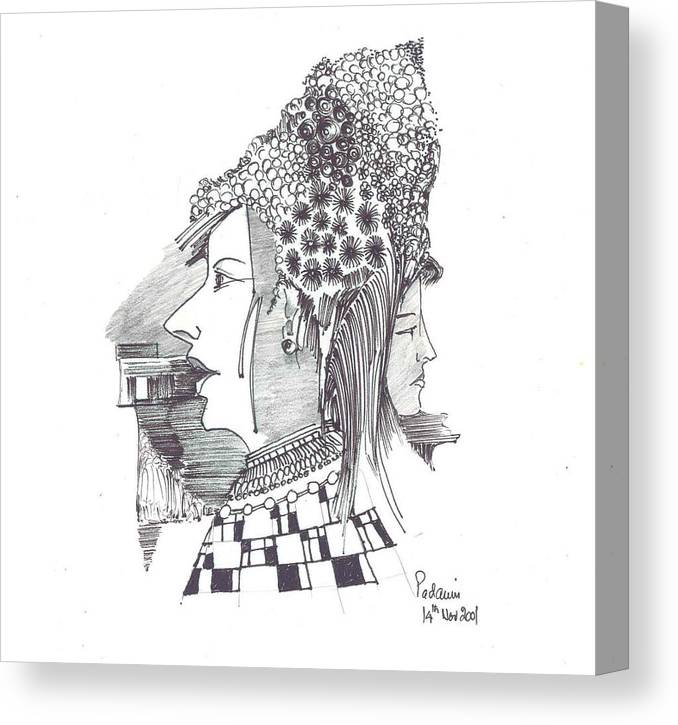 Women Canvas Print featuring the drawing Women With Headgear by Padamvir Singh