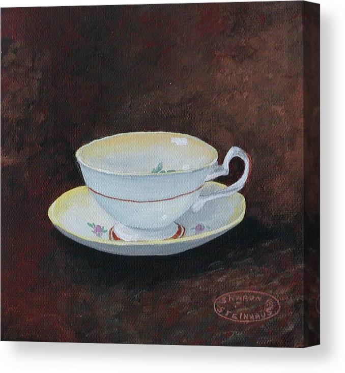 Cup And Saucer Teacup China Original Acrylic Canvas Print featuring the painting Yellow Teacup by Sharon Steinhaus