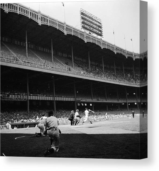 Motion Canvas Print featuring the photograph Yankee Stadium by Douglas Grundy