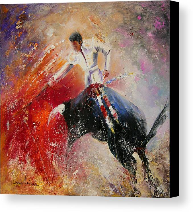 Animals Canvas Print featuring the painting 2010 Toro Acrylics 05 by Miki De Goodaboom