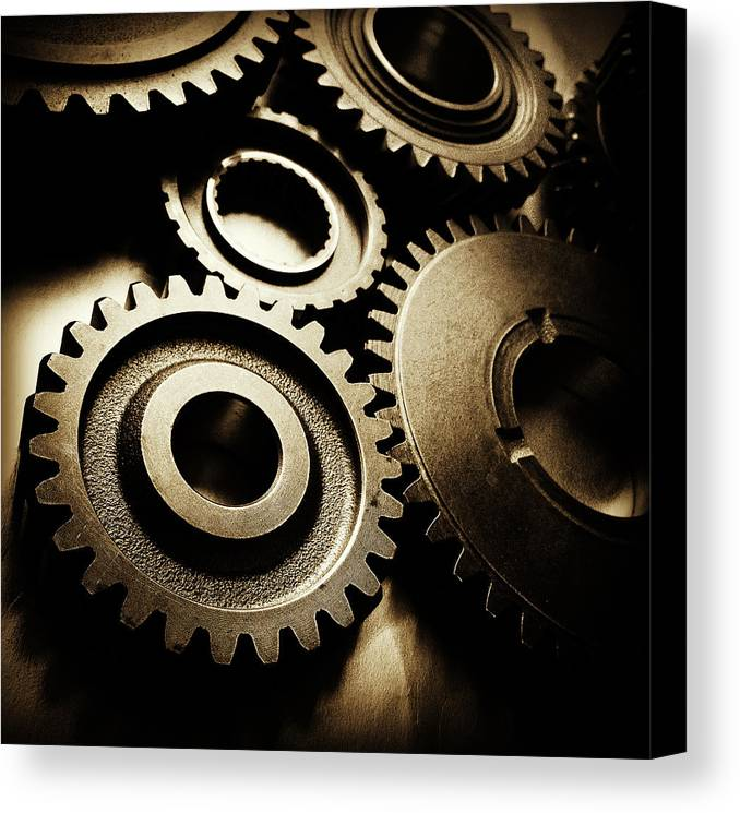 Gearing Canvas Print featuring the photograph Cogs by Les Cunliffe