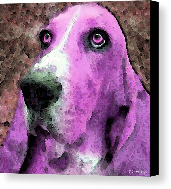 Basset Hound Canvas Print featuring the painting Basset Hound - Pop Art Pink by Sharon Cummings