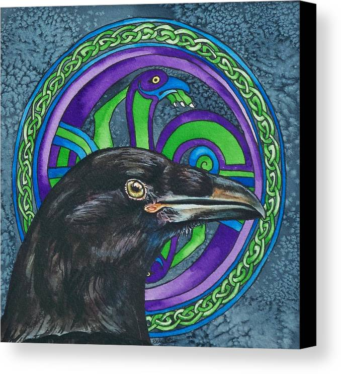 Celtic Canvas Print featuring the painting Celtic Raven by Beth Clark-McDonal