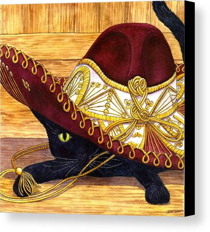 Cat Canvas Print featuring the painting Cinco De Mayo by Catherine G McElroy