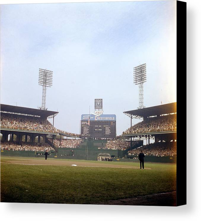 Marvin Newman Canvas Print featuring the photograph Comiskey Park Photo From The Outfield by Retro Images Archive