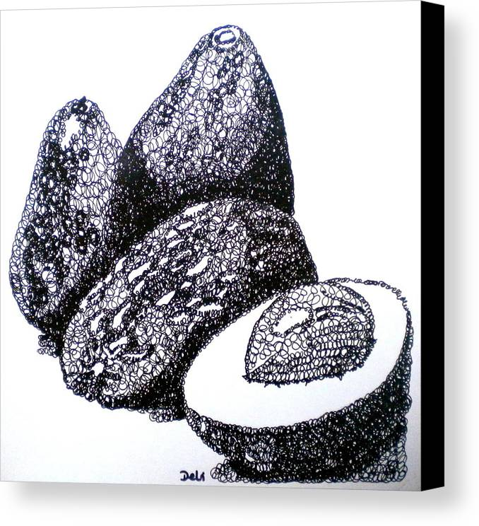 Avocados Canvas Print featuring the painting Curly Avocados by Debi Starr