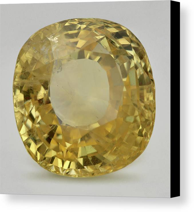 Close-up Canvas Print featuring the photograph Cut Yellow Sapphire Gemstone by Dorling Kindersley/uig