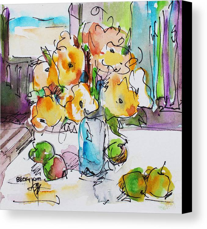 Flowers Canvas Print featuring the painting Flowers And Green Apples by Becky Kim
