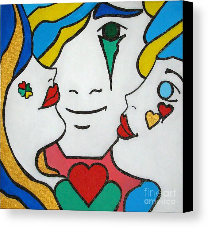 Pop-art Canvas Print featuring the painting Happy Days by Silvana Abel