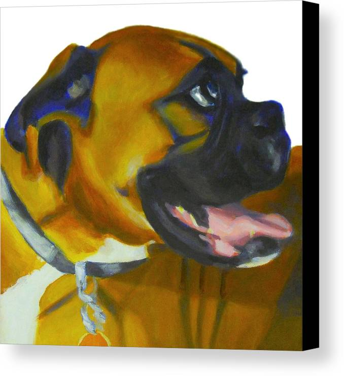 Dog Canvas Print featuring the painting Happy Dog by Sarah Vandenbusch