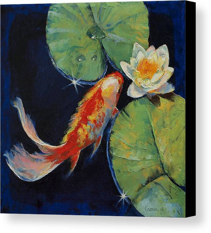 Koi and white lily canvas print canvas art by michael creese for Koi prints canvas