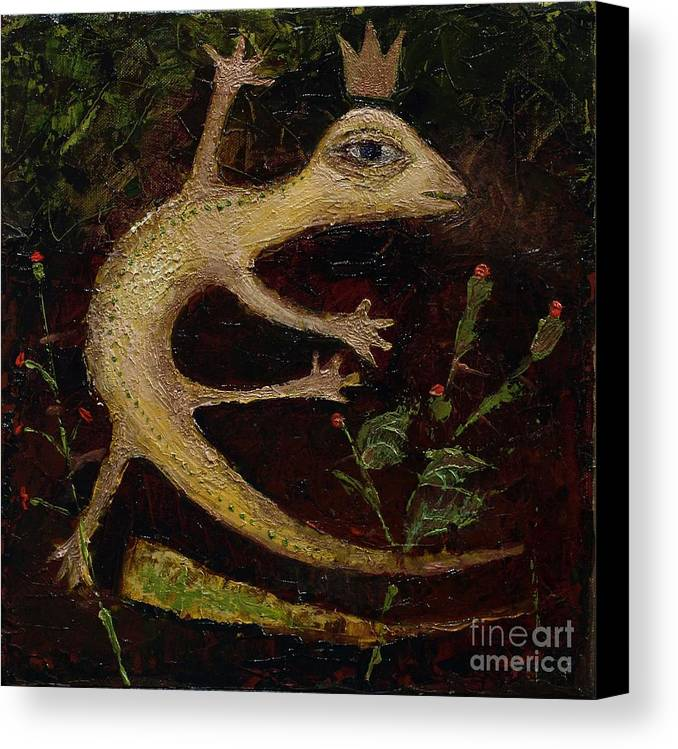 Tail Canvas Print featuring the painting Lizards Queen by Nata Potyomkin