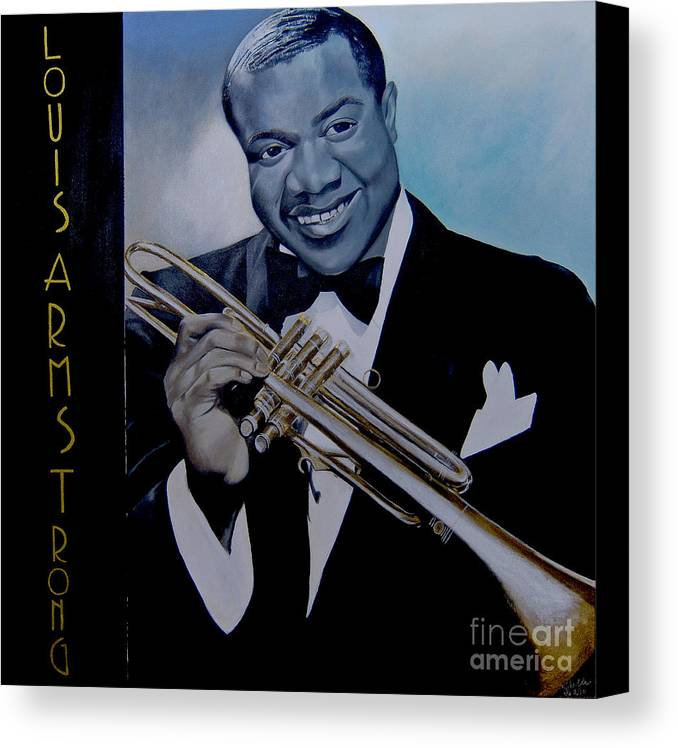 Jazz Canvas Print featuring the painting Louis Armstrong by Chelle Brantley