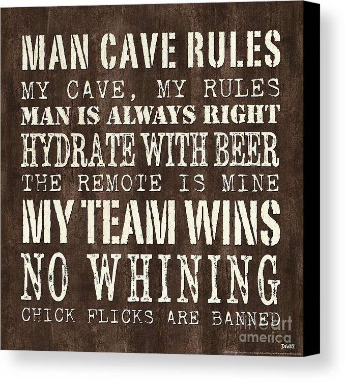 Man Canvas Print featuring the painting Man Cave Rules 1 by Debbie DeWitt