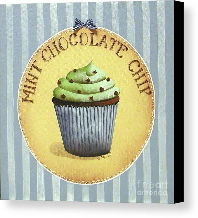 Art Canvas Print featuring the painting Mint Chocolate Chip Cupcake by Catherine Holman