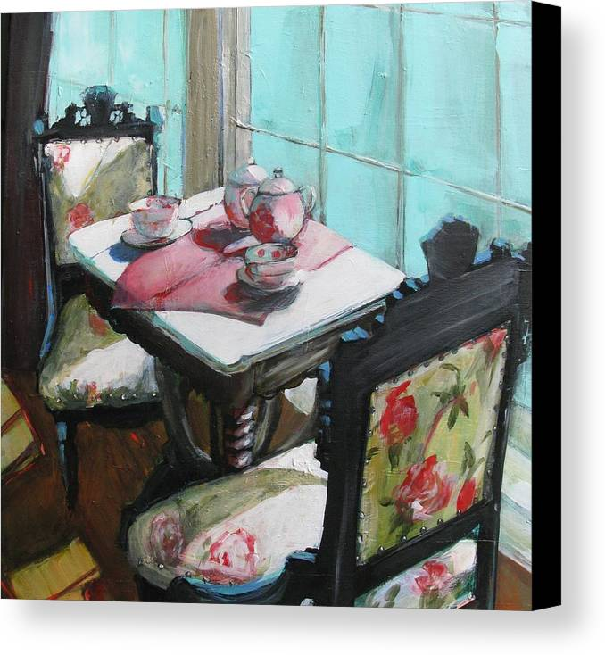 Interior Canvas Print featuring the painting Morning Tea by Michelle Winnie