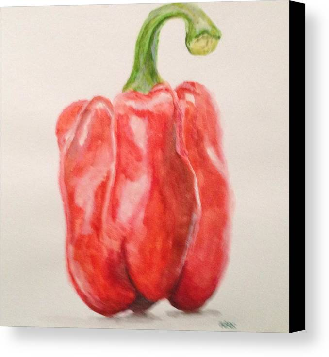 Red Canvas Print featuring the painting Red Pepper by Kaos Handlon