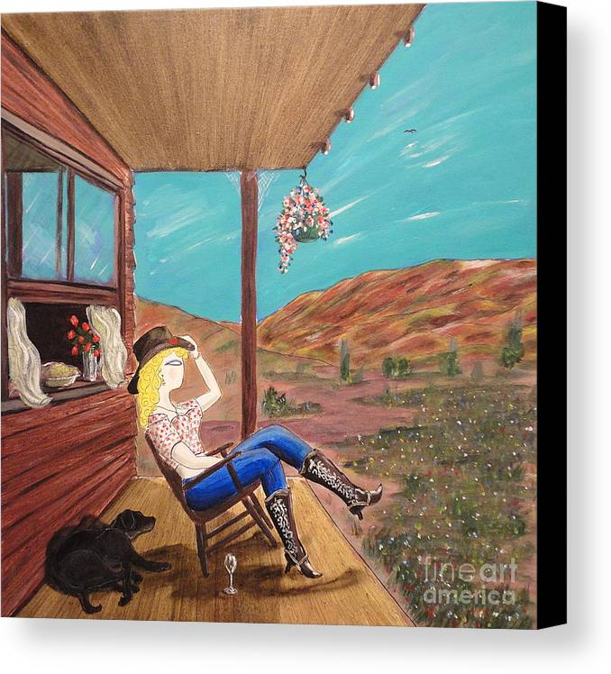 John Lyes Canvas Print featuring the painting Sexy Cowgirl Sitting On A Chair At High Noon by John Lyes