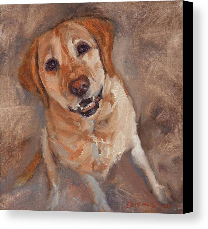 Yellow Labrador Canvas Print featuring the painting Sit by James Swanson