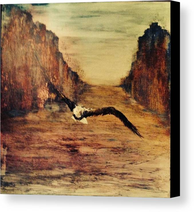 Eagle In Flight Canvas Print featuring the digital art Speed by Angela McEvilly