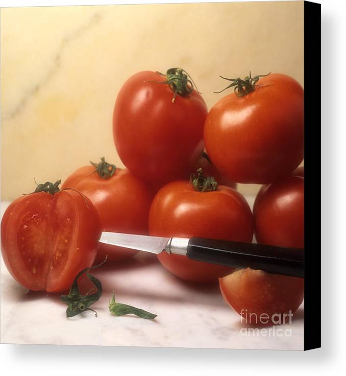 Cut Food Indoors Indoor Inside Knife Knives Nobody Nutrition Sharp Sliced Solanum Lycopersicum Canvas Print featuring the photograph Tomatoes And A Knife by Bernard Jaubert