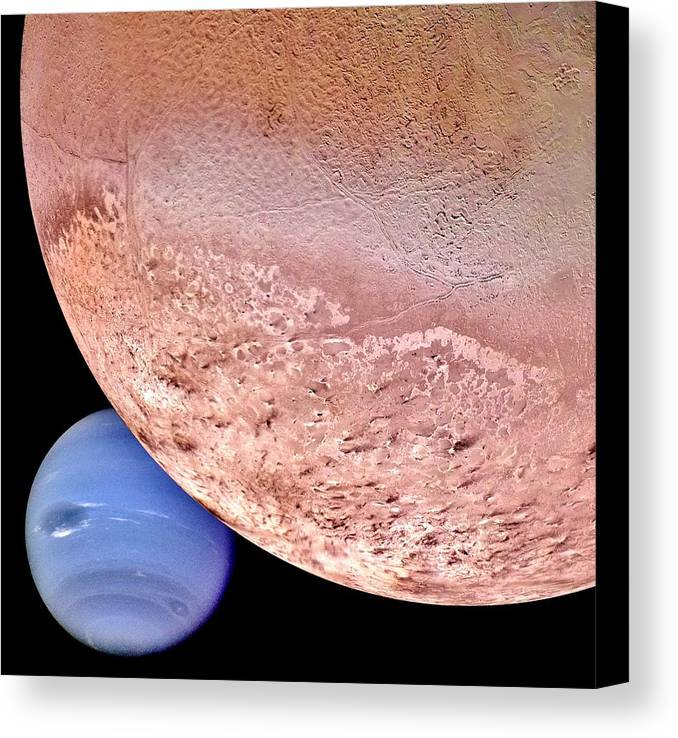 Solar System Canvas Print featuring the photograph Triton And Neptune by Benjamin Yeager