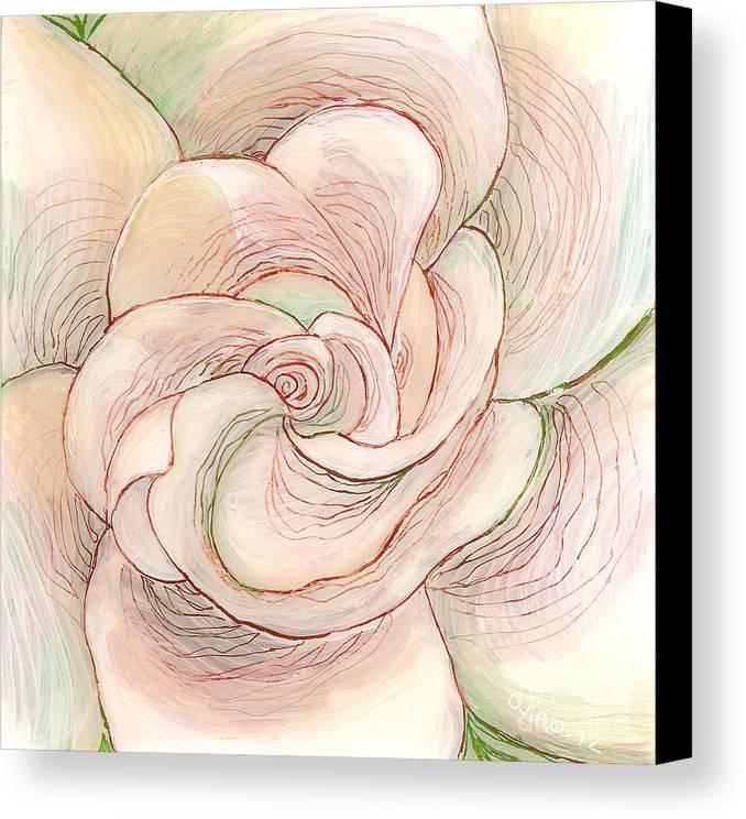 White Gardenia Canvas Print featuring the painting White Gardenia 1 by Anna Skaradzinska