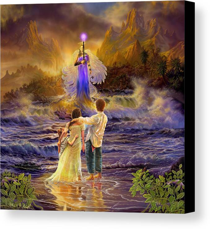 Angel Canvas Print featuring the painting Archangel Jeremiel by Steve Roberts