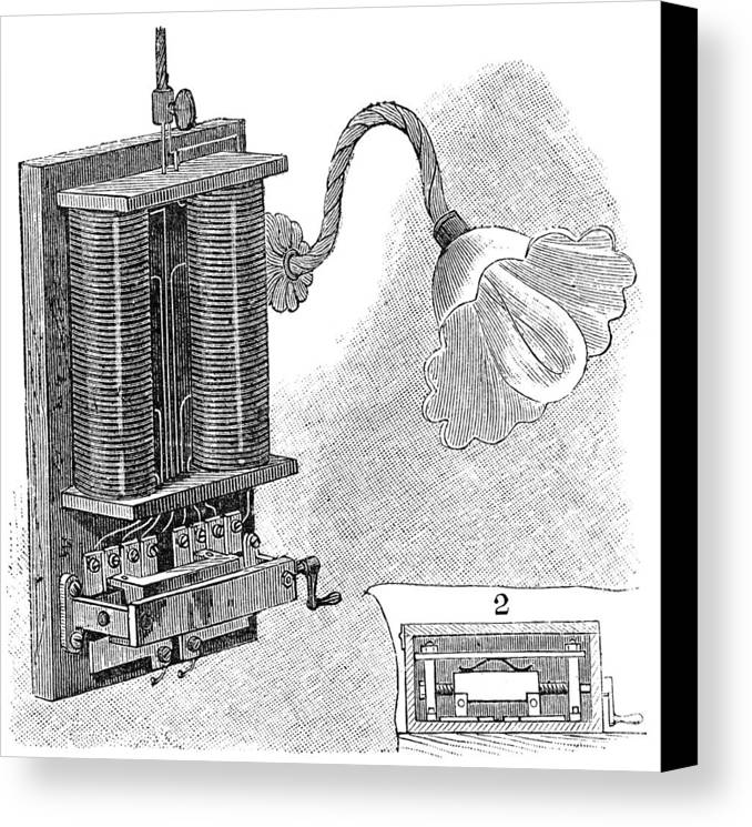 Lamp Canvas Print featuring the photograph Dimmer Lamp Electrics, 19th Century by