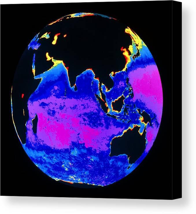 Phytoplankton Distribution Canvas Print featuring the photograph False Colour Image Of The Indian Ocean by Dr Gene Feldman, Nasa Gsfc