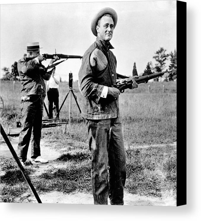 History Canvas Print featuring the photograph Franklin Roosevelt On A Rifle Range by Everett