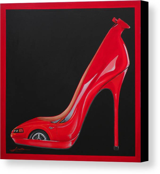 Red Canvas Print featuring the painting Horse Choo by Lynn Masters