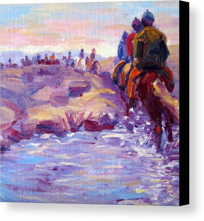 Iceland Canvas Print featuring the painting Icelandic Horse Trail Ride by Terry Chacon