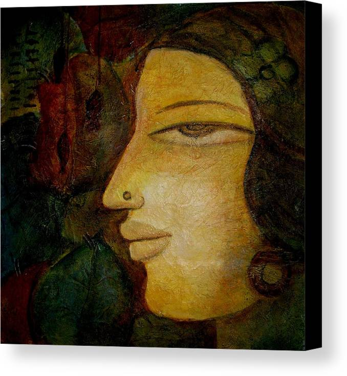 Lady Canvas Print featuring the painting Lady's Face by Raji Chacko