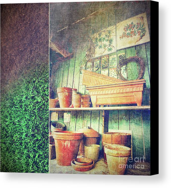 Basket Canvas Print featuring the photograph Lots Of Different Size Pots In The Shed by Sandra Cunningham