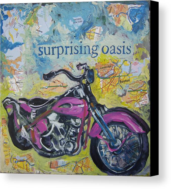 Motorcycle Canvas Print featuring the painting Surprising Oasis by Tilly Strauss