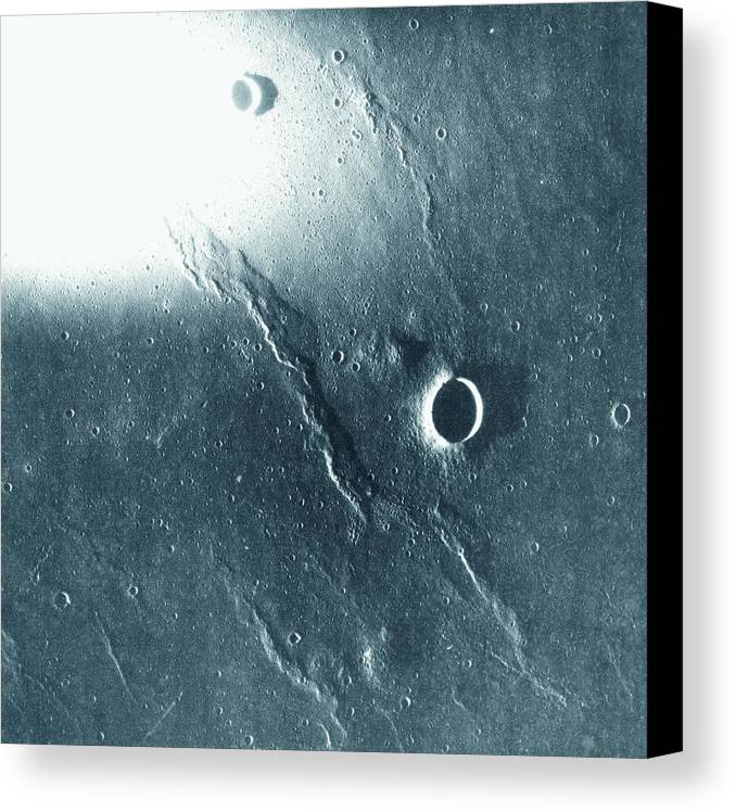 Square Canvas Print featuring the photograph View Of The Landscape Of The Moon by Stockbyte