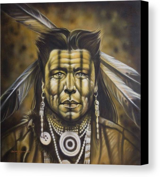 Native American Canvas Print featuring the painting Warpath by Timothy Scoggins