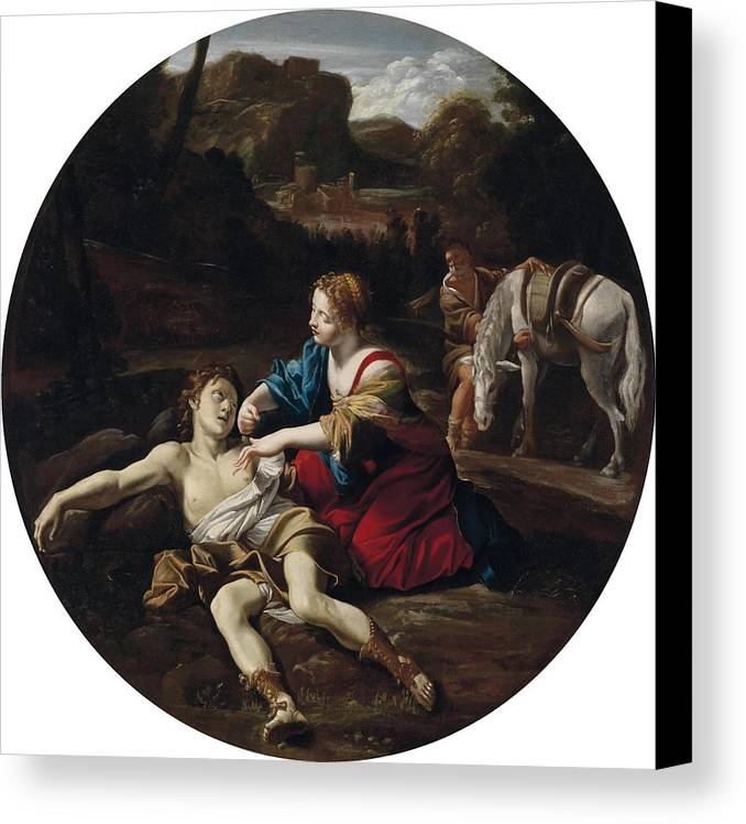 Giovanni Lanfranco (parma 1582 - 1647 Roma) Canvas Print featuring the painting Angelica Nurses Medoro by Giovanni Lanfranco