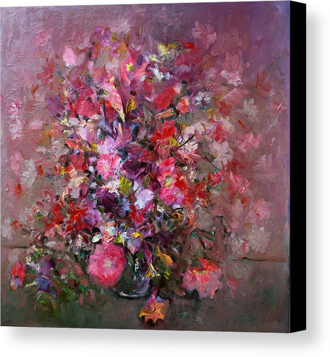 Pink Flowers Canvas Print featuring the painting Flowers by Mario Zampedroni