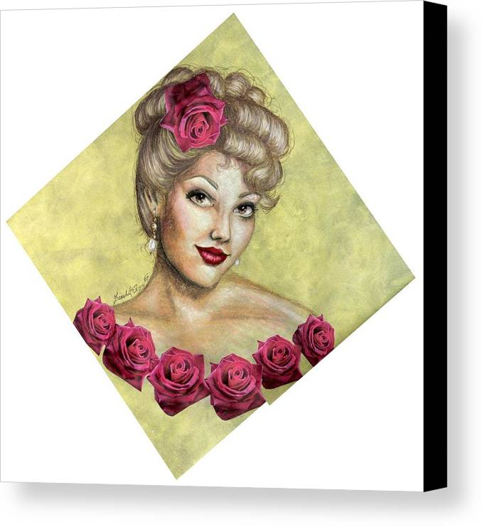 Portrait Canvas Print featuring the drawing Rose by Scarlett Royal