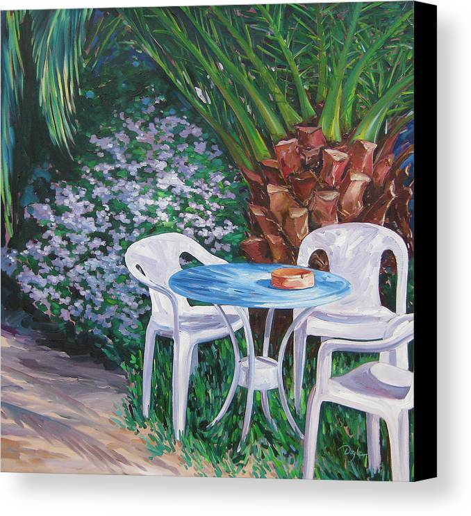 Palm Tree Canvas Print featuring the painting Afternoon Break by Karen Doyle