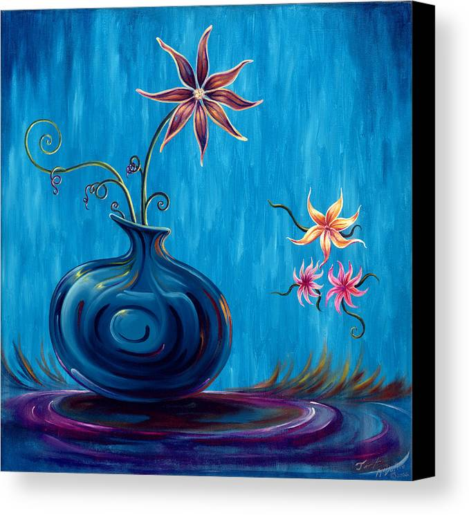 Fantasy Floral Scape Canvas Print featuring the painting Aloha Rain by Jennifer McDuffie