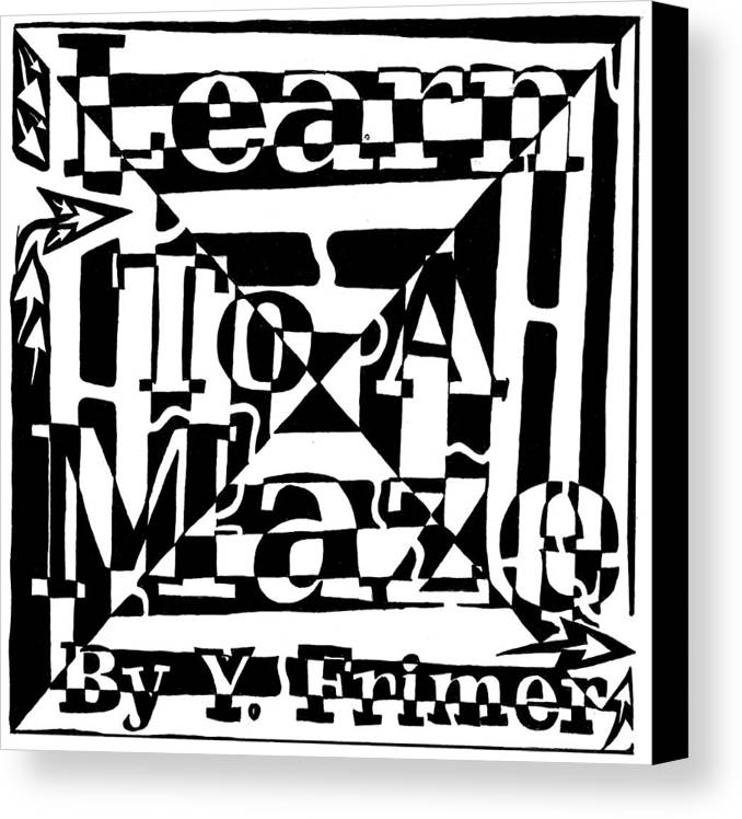 Book Cover Canvas Print featuring the drawing Alternate Book Cover Maze by Yonatan Frimer Maze Artist