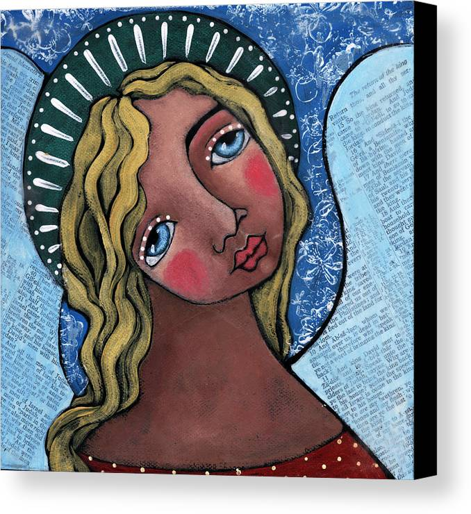 Angel Canvas Print featuring the painting Angel With Green Halo by Julie-ann Bowden
