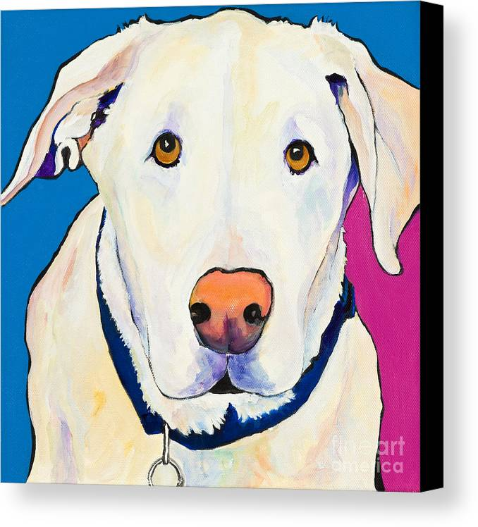White Lab Yellow Lab Animal Paintings Golden Eyes Square Format Dogs Pets Rescued Canvas Print featuring the painting Aslinn by Pat Saunders-White