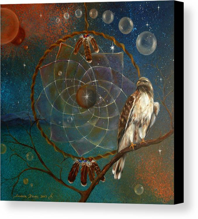 Red Tailed Hawk Canvas Print featuring the painting Awakening Visionary Power by Sundara Fawn