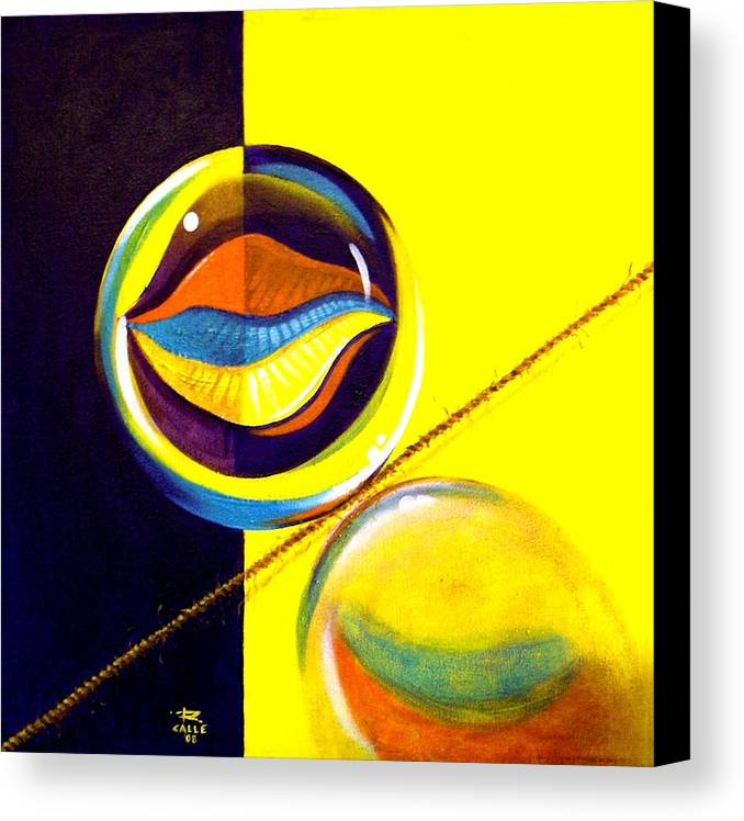 Surrealism Canvas Print featuring the painting Balancing Act I by Roger Calle
